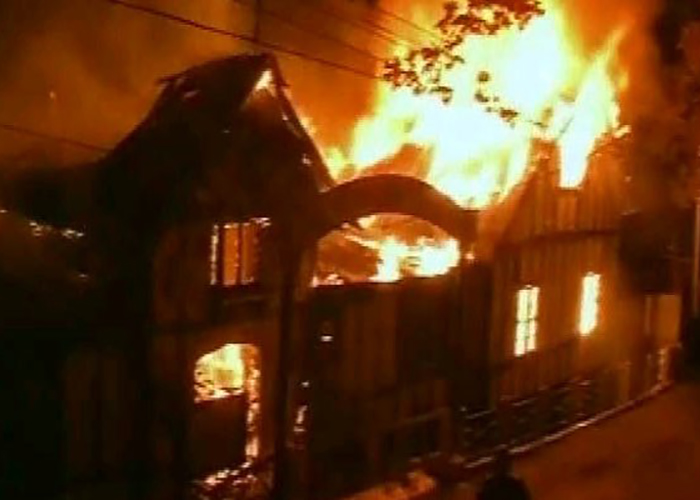 Indian Colonial Building Destroyed by Fire