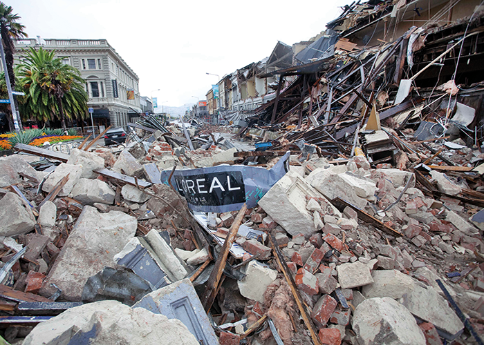 Rubble blocks a Christchurch street. Image courtesy of John McCombe, New Zealand Fire Service.