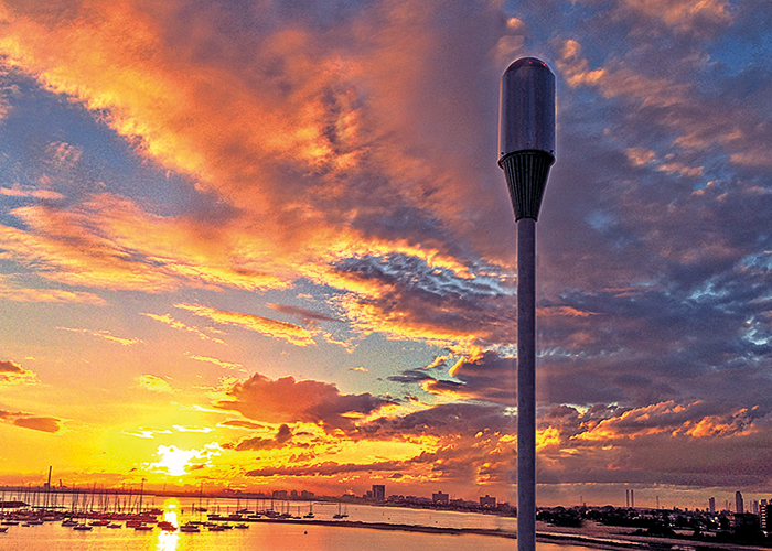 The ODIS EYE360, St Kilda, Melbourne Australia. The fully integrated solid-state unit can be solar powered and utilises existing wireless communications. Image courtesy of ODIS Technologies.