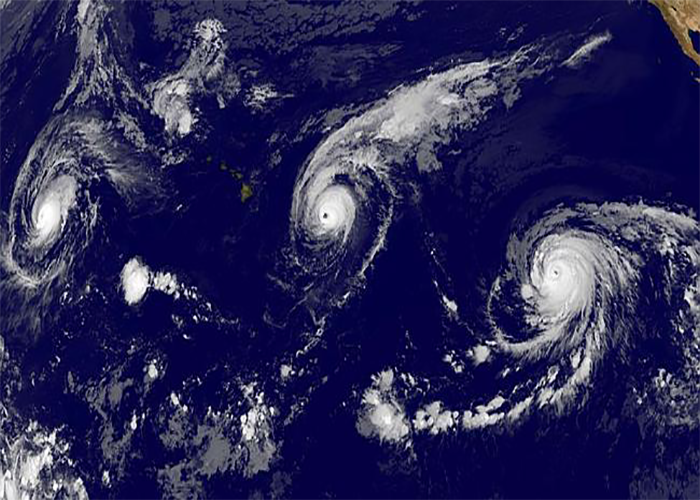Three Hurricanes in a row marching across the Pacific