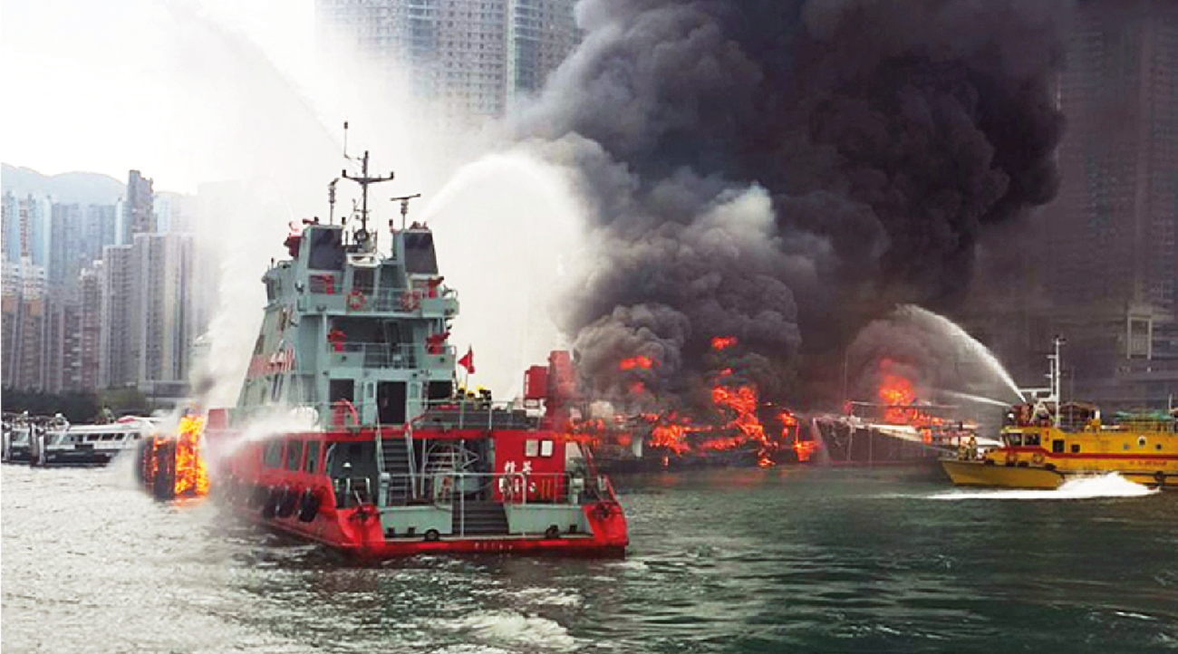Fireboat Elite and Diving Supports Vessel at the Shau Kei Wan typhoon shelter fire September 2015.