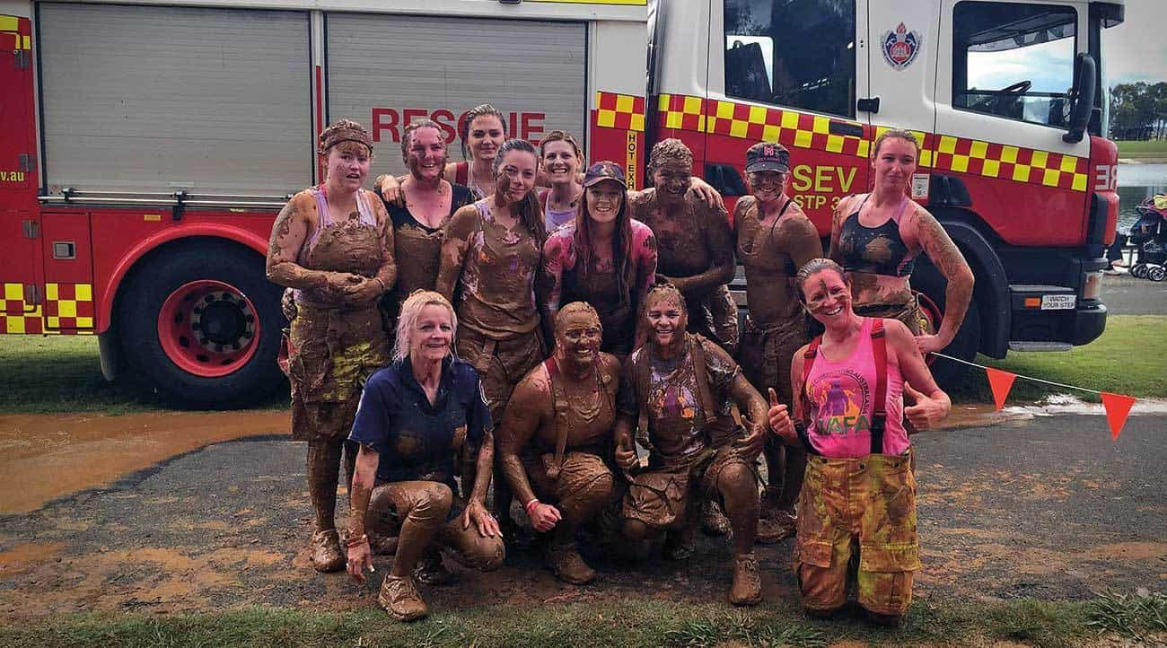 Participants of WAFA's team at the Wollongong Miss Muddy event in 2015.