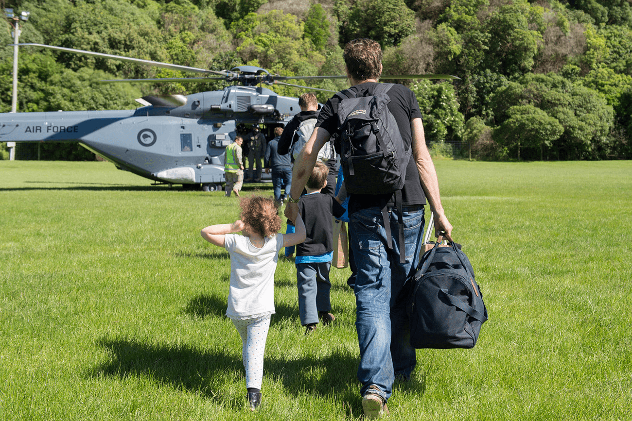 A Royal New Zealand Air Force NH90 helicopter arrives in Kaikoura on the South Island of New Zealand to evacuate those stranded following the recent earthquakes