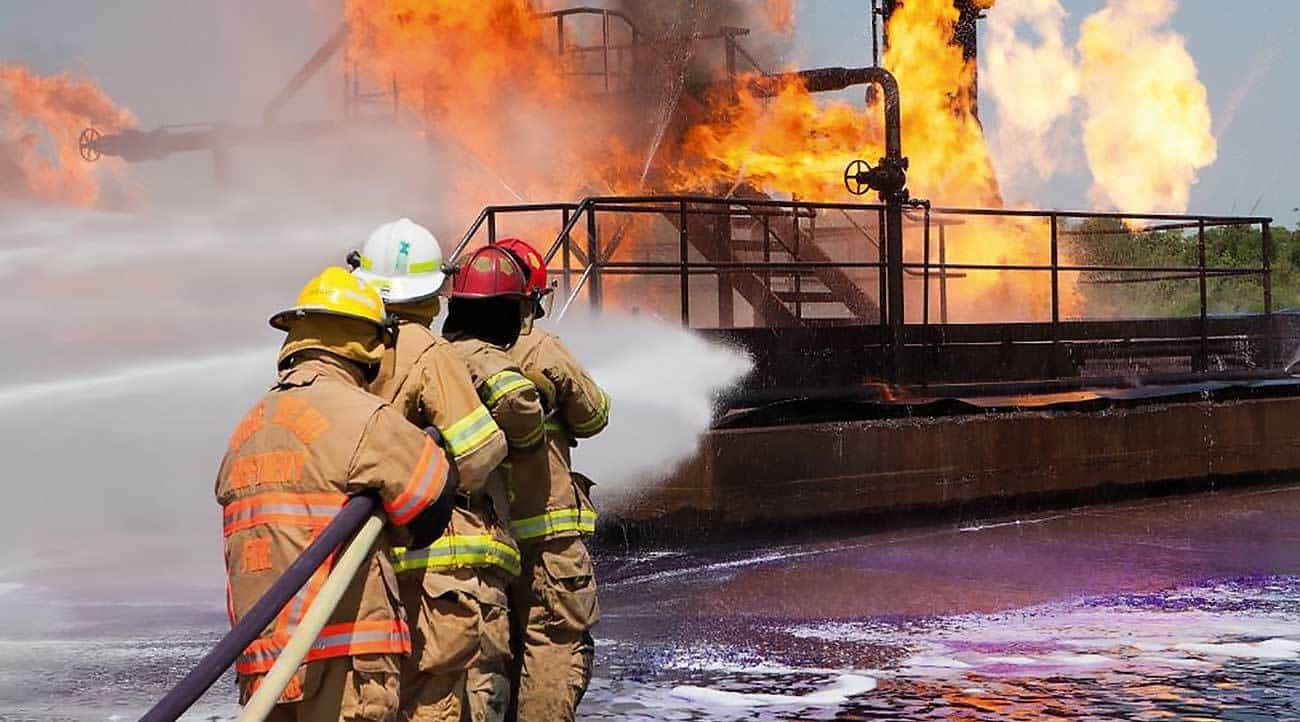 Proper positioning and coordination needed in fighting a fire.
