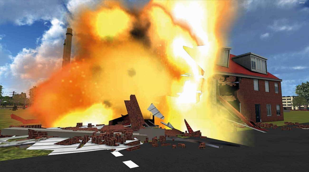 Explosion. Fires, explosions, gas clouds, wind, rain, smoke are all available.