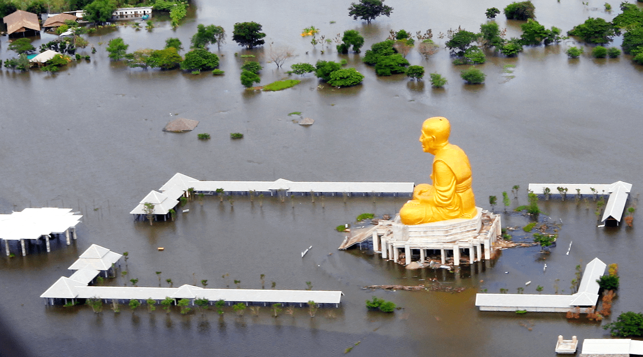 An aerial view shows flood waters surrounding a temple as members of the Humanitarian Assessment Survey Team assess damage north of Bangkok, Oct. 16, 2011. The team included 10 Marines from the 3rd Marine Expeditionary Force, which trains regularly to respond to natural disasters during exercises on Okinawa and throughout the Asia-Pacific region. U.S. Marine Corps photo by Cpl. Robert J. Maurer