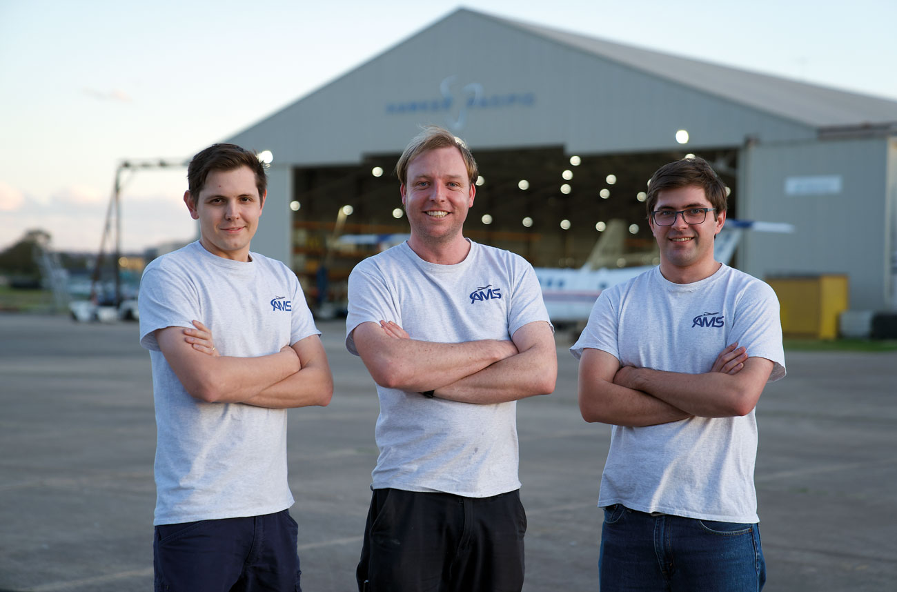 The team at Airborne Mission Systems (Founders and Engineers of AFDAU-T1): from left, Zane Vohland, Sam Hammond and Levi Vohland.
