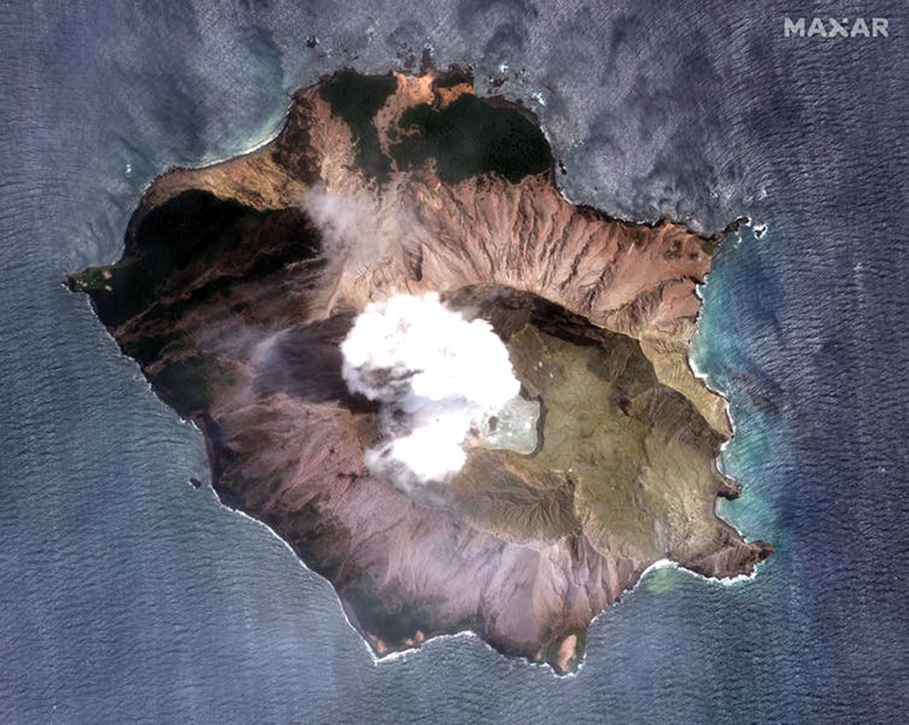 Figure 1. White Island Volcano three days after the 9 December 2019 eruption. Image courtesy of NASA