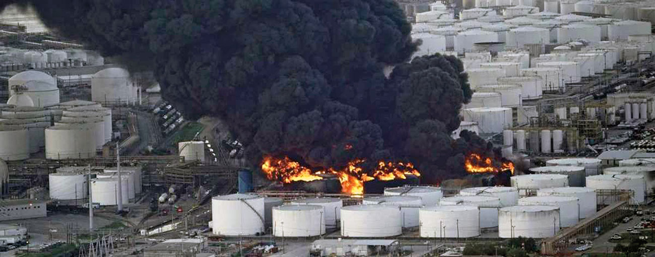 Fig. 1: Tank farm fire at Deer Park, Texas, USA.