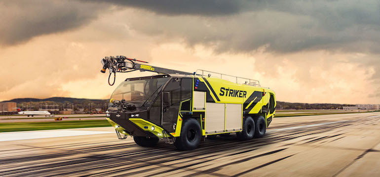 Oshkosh Airport Products secured its first order for the new Striker ARFF vehicle, which will go to MSP International Airport in late summer 2021. (Image copyright: Oshkosh)