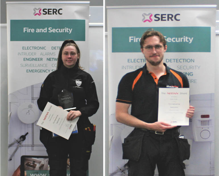 Megan Davidson (Fire Engineering Appretice of the Year 2021) and Adam Smylie (Fire Engineering Appretice of the Year 2020).