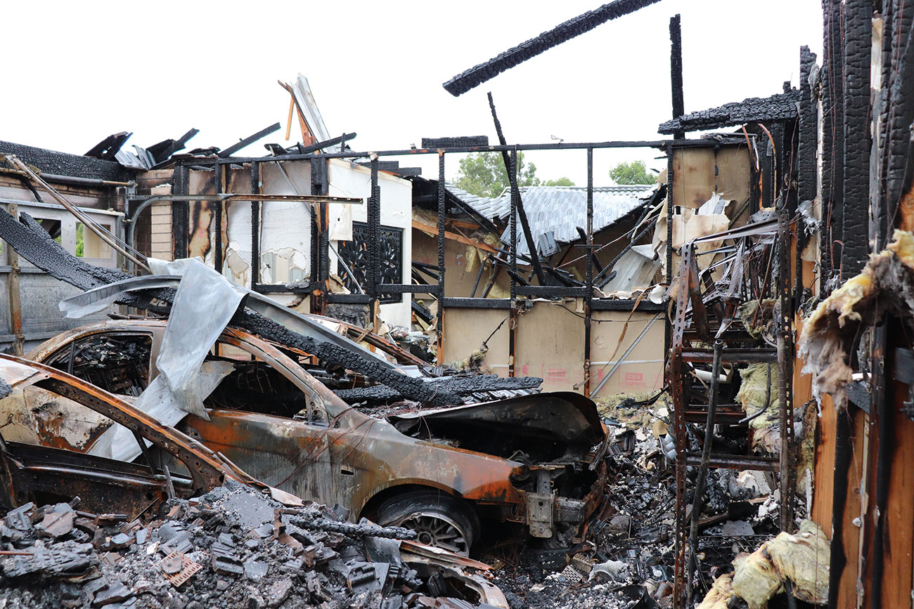 The fire had devastating consequences, claiming the house and three vehicles.