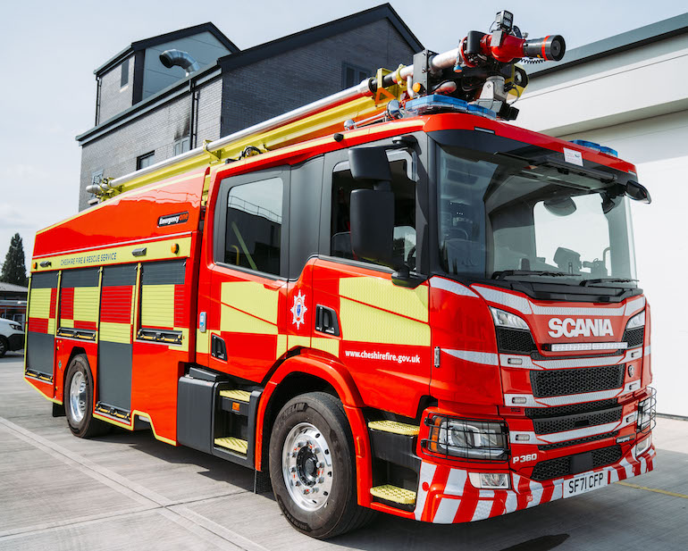 The Scorpion HRET is a fire engine with the ability to deliver water and foam from height. (Cheshire FRS)