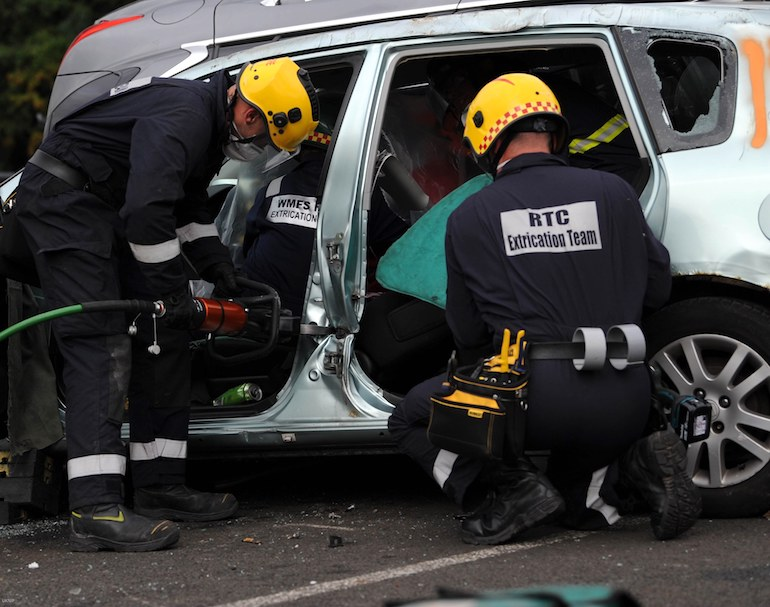 West Midlands Fire and Rescue Service in action at the UKRO Extrication event. (TWFRS)