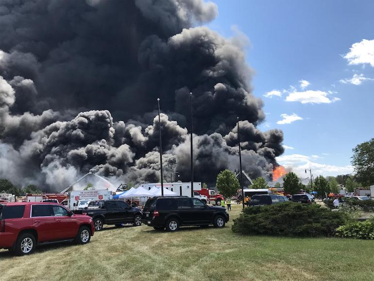 """The Chemtool Plant in Rockton, Illinois had an industrial explosion and fire on 14 June 2021. Chemtool is owned by Lubrizol Corporation which is a Berkshire Hathaway company. """"U.S. Fire Pump, a Louisiana-based company … used 3,200 gallons of the fluorinated foam."""" (Photo from USEPA)"""